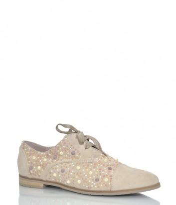 Замшевые туфли My Grey 046 с заклепками бежевые