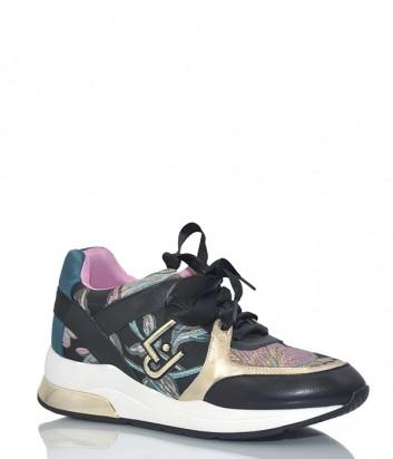 Женские кроссовки Liu Jo B18021 черные с ярким узором