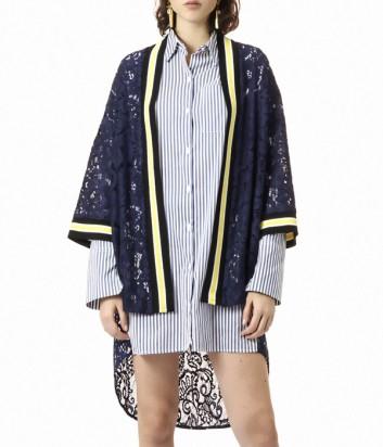 Кружевное кимоно PINKO с нашивкой на спине синее