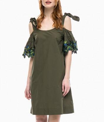 Платье PINKO с завязками на плечах цвета хаки