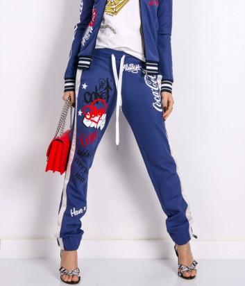 Синие штаны PINKO с надписями Coca Cola