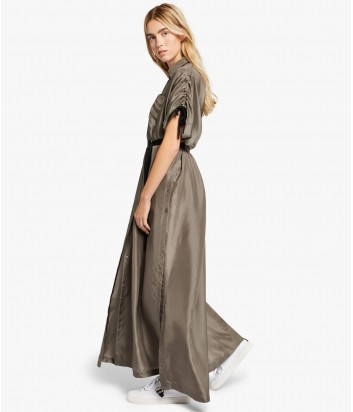 Шелковое платье в пол Karl Lagerfeld цвета хаки