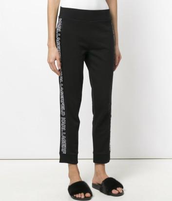 Укороченные трикотажные брюки Karl Lagerfeld с надписями по бокам