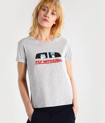 Серая хлопковая футболка Karl Lagerfeld с яркой аппликацией
