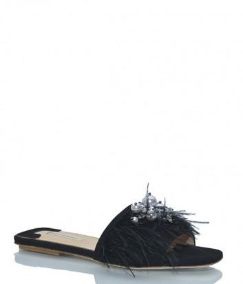 Черные сабо Fabio Rusconi 4231 декорированные перьями