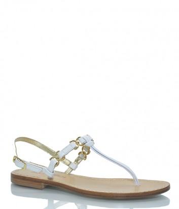 Кожаные сандалии Paola Fiorenza Farfallina бело-золотые