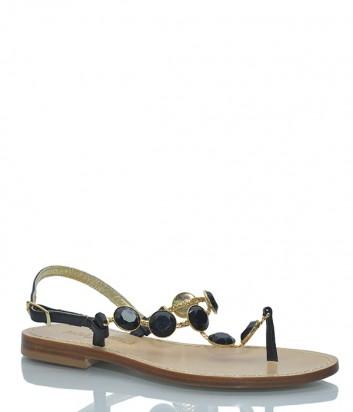Кожаные сандалии Paola Fiorenza ROS 643 с кристаллами черные