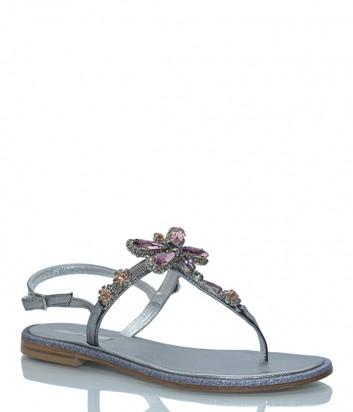 Кожаные сандалии Paola Fiorenza ST 120 серебристые с кристаллами
