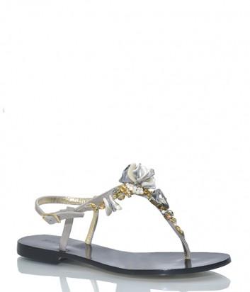 Кожаные сандалии Paola Fiorenza MP518 декорированные камнями
