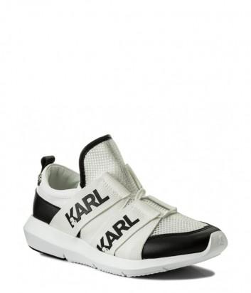 Белые кожаные кроссовки Karl Lagerfeld с черными вставками