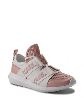 Белые кожаные кроссовки Karl Lagerfeld с розовыми вставками