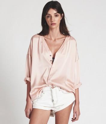 Удлиненная шелковая блуза One Teaspoon цвета пудры