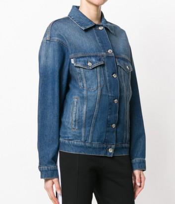 Джинсовая куртка MSGM с логотипом на спине синяя