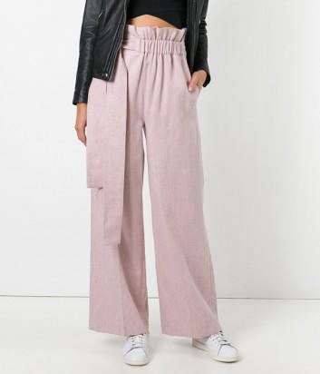Льняные брюки с завязками MSGM пудрового цвета
