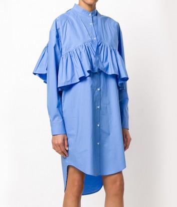 Легкое платье-рубашка MSGM с крупными рюшами голубое