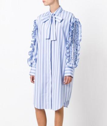 Голубое платье в полоску MSGM с рюшами на рукавах