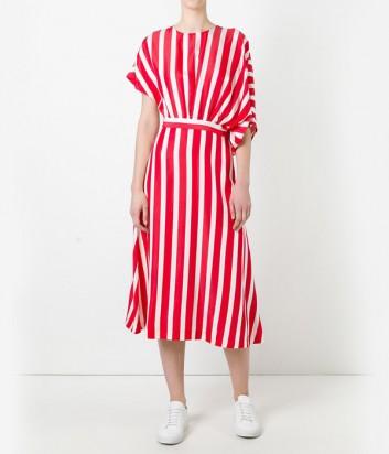 Легкое платье миди MSGM в красно-белую полоску