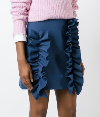 Синяя юбка MSGM с крупными рюшами