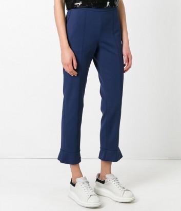 Женские синие брюки MSGM с оборками по низу