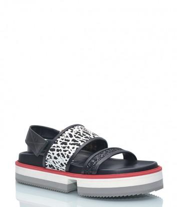 Кожаные сандалии Shy 1134.540 с глиттером черные