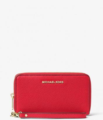 Кожаный кошелек Michael Kors Mercer с отделением для мобильного красный