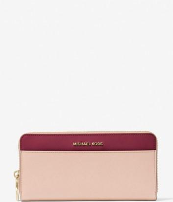 Кожаное портмоне Michael Kors Jet Set комбинированное розовое