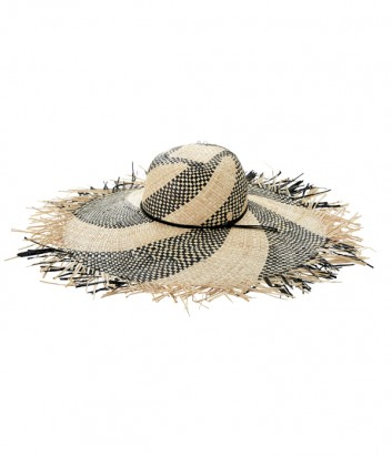 Широкополая шляпа Seafolly 71369-HT черно-бежевая