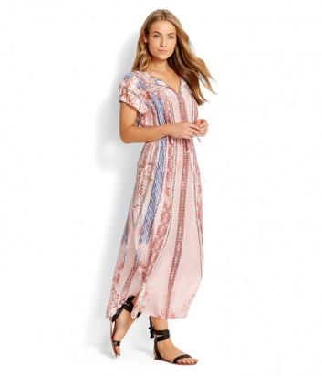 Длинное розовое платье Seafolly 53313-KA с принтом