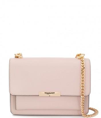 Кожаная сумка Michael Kors Jade Large с откидным клапаном нежно-розовая