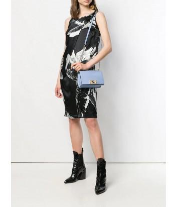 Кожаная сумочка на цепочке Furla Mimi Mini 1021921 с откидным клапаном голубая