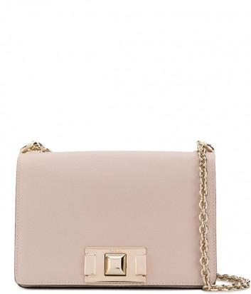 Кожаная сумочка на цепочке Furla Mimi Mini 1031808 с откидным клапаном бежевая