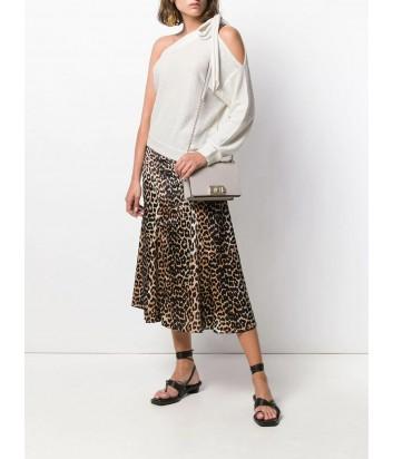 Кожаная сумочка на цепочке Furla Mimi Mini 1021920 с откидным клапаном кремовая