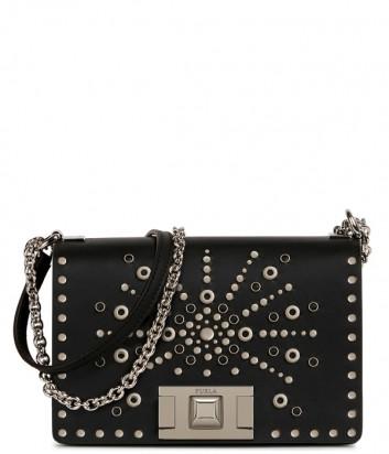 Кожаная сумочка на цепочке Furla Mimi Mini 1023363 черная с заклепками