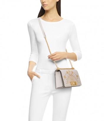 Кожаная сумочка на цепочке Furla Mimi Mini 1025253 кремовая с заклепками