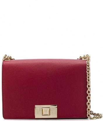 Кожаная сумка на цепочке Furla Mimi 1026446 с откидным клапаном вишневая