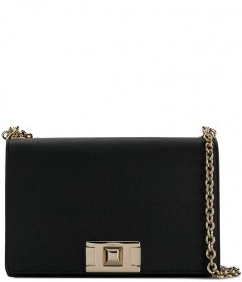 Кожаная сумка на цепочке Furla Mimi 1007404 с откидным клапаном черная