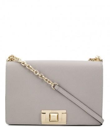 Кожаная сумка на цепочке Furla Mimi 1007406 с откидным клапаном серая
