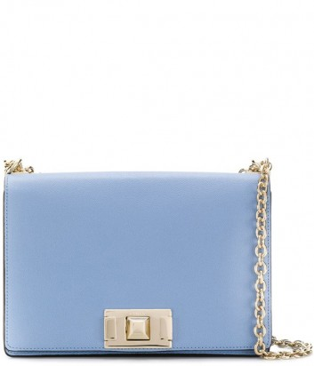 Кожаная сумка на цепочке Furla Mimi 1021905 с откидным клапаном голубая