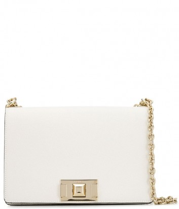 Кожаная сумка на цепочке Furla Mimi 1007399 с откидным клапаном белая