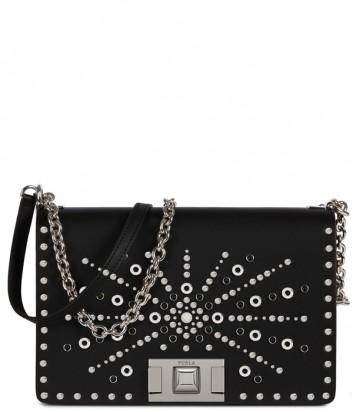 Кожаная сумка на цепочке Furla Mimi 1023345 черная с заклепками