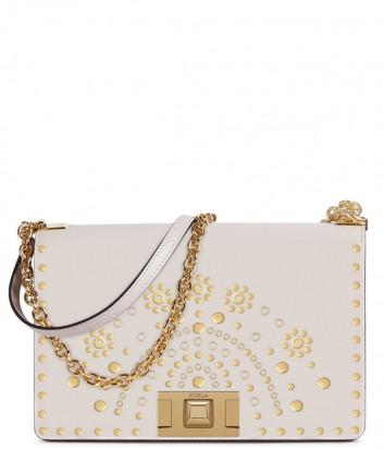 Кожаная сумка на цепочке Furla Mimi 1025250 кремовая с золотыми заклепками