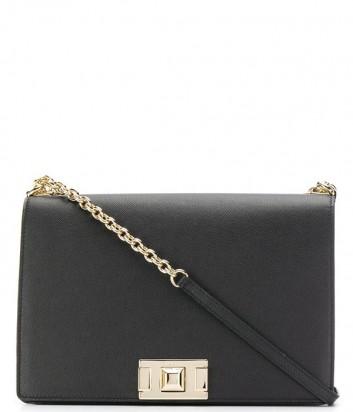 Большая сумка на цепочке Furla Mimi 1021890 с откидным клапаном черная