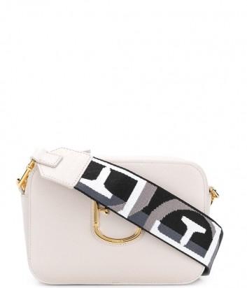 Компактная кожаная сумка Furla Brava 1021626 с широким плечевым ремнем кремовая