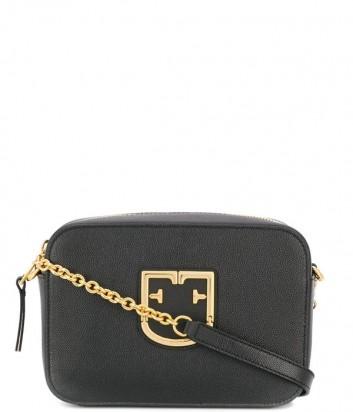 Компактная кожаная сумка Furla Brava 1013949 на цепочке черная