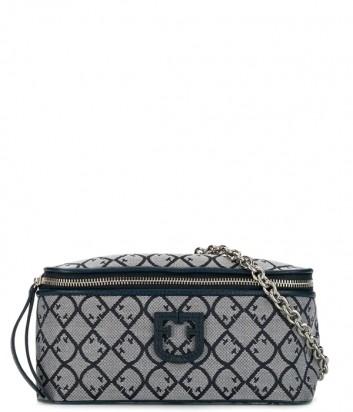 Поясная сумка Furla Isola 1021673 в жаккардовой ткани синяя