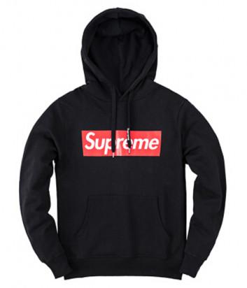 Черное худи с капюшоном Supreme SFU08 модель унисекс