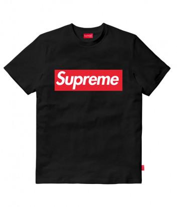 Черная футболка с логотипом Supreme STU01 модель унисекс
