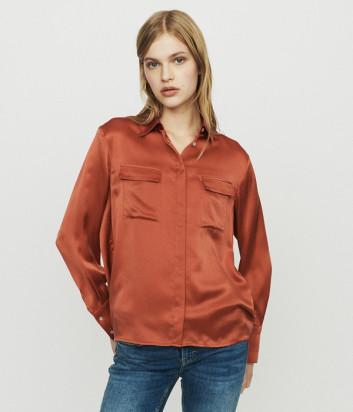 Шёлковая рубашка Maje E19CECI свободного кроя терракотовая