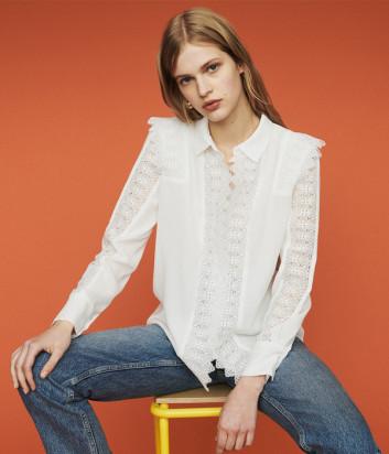 Белая блуза Maje E19CANDI с кружевом