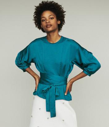 Блуза с драпировкой Maje E19LAVANA на запах изумрудная